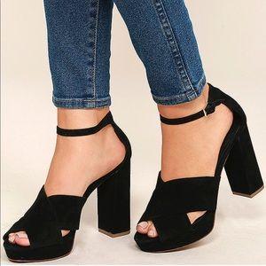 Black Leather Suede Block High Heel Platform